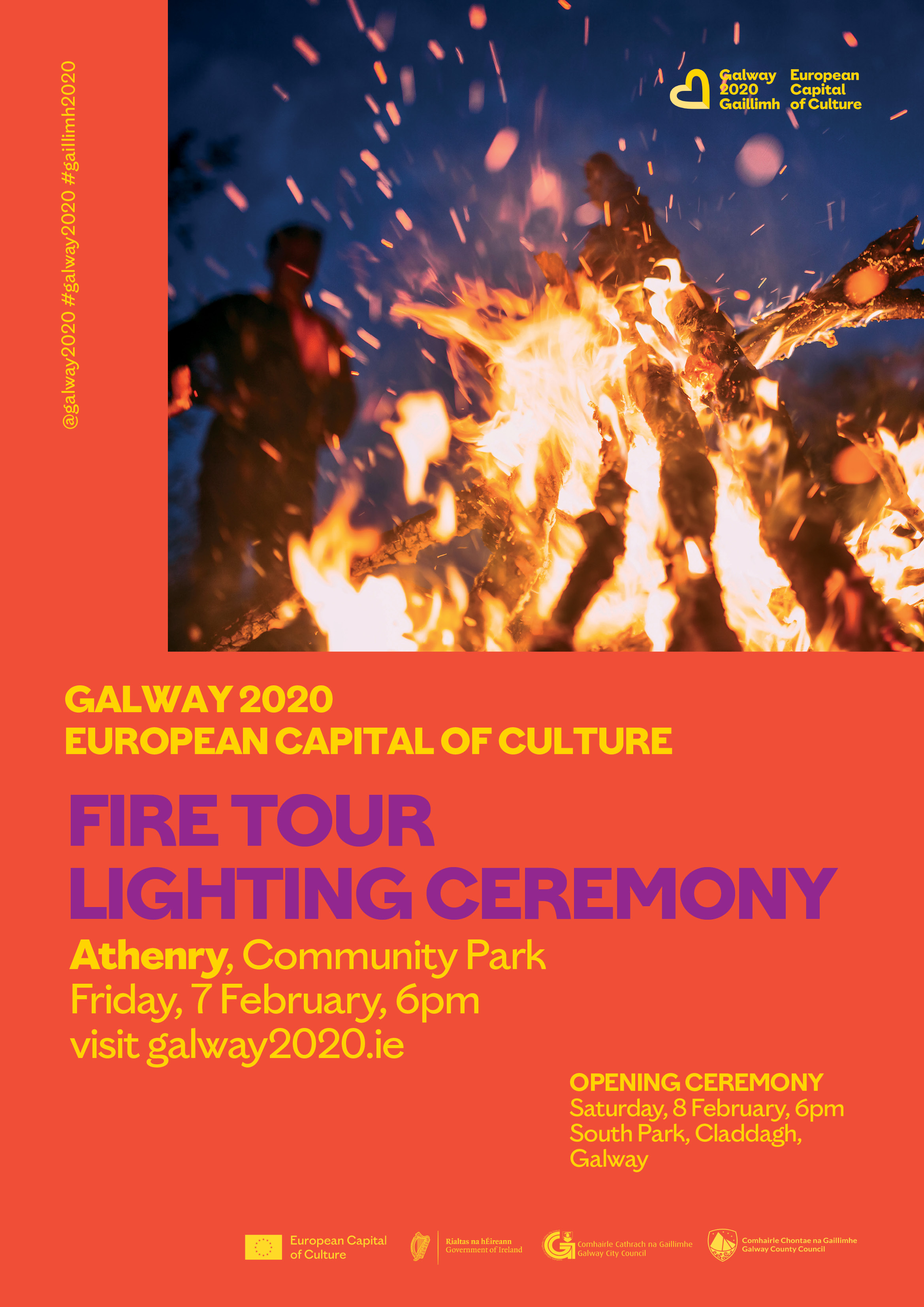 Galway 2020 Fire Lighting Ceremony Athenry Community Park 7th February at 6pm