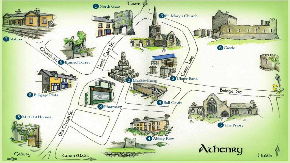 Architectural Walking Tours of Athenry, County Galway, Ireland.